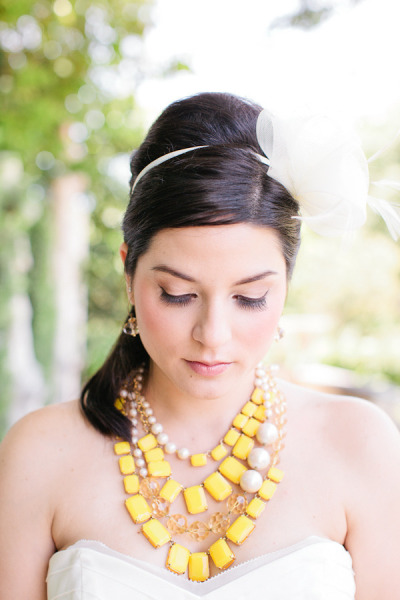 Preppy Bride Yellow White Floral Headpiece Vizcazya Miami Wedding