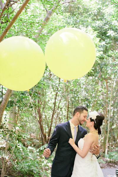 Kate Spade Inspired Shoot - Bride and Groom with Balloons - Short Wedding Gown - Vizcaya Miami