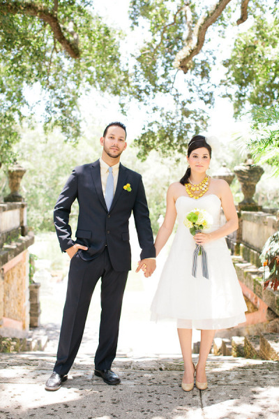 Modern Preppy Couple Elopement Wedding Kate Spade Inspired Short Wedding Gown Vizcaya Miami Yellow