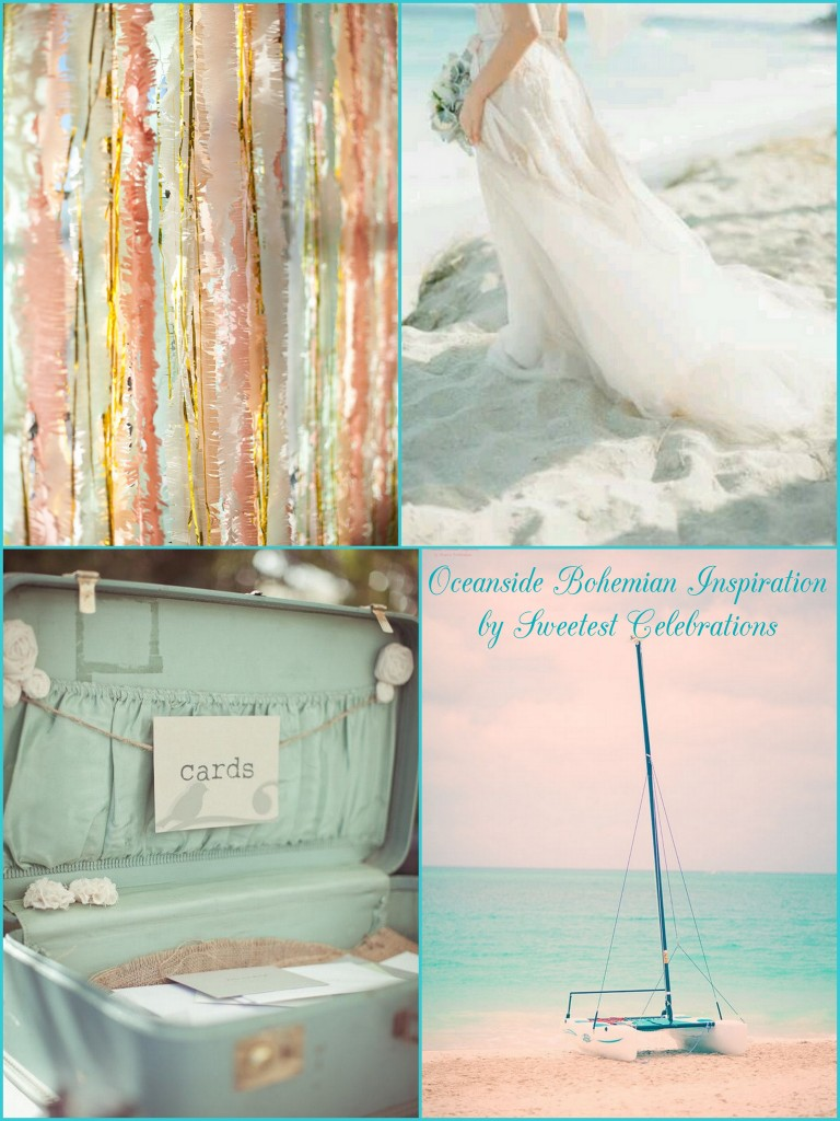 oceanside bohemian wedding inspiration beachside coral aqua white