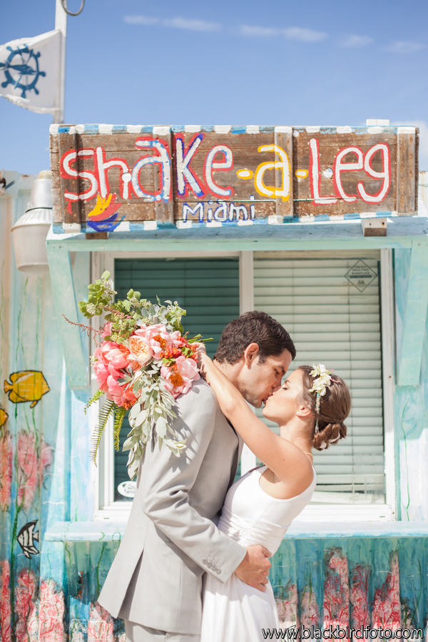Bohemian Vintage Wedding Couple Miami Shake a Leg