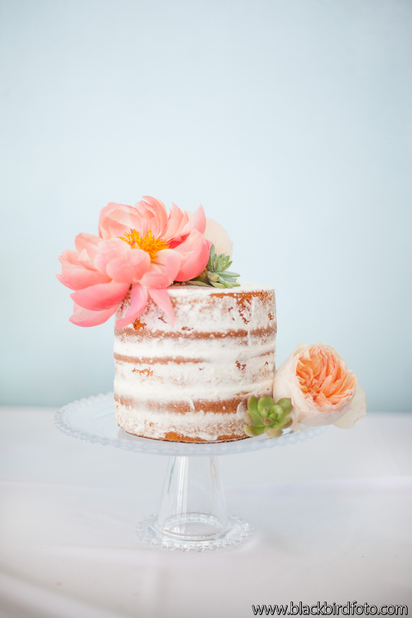 Peony Naked Cake Succulents Miami Wedding Coral Aqua