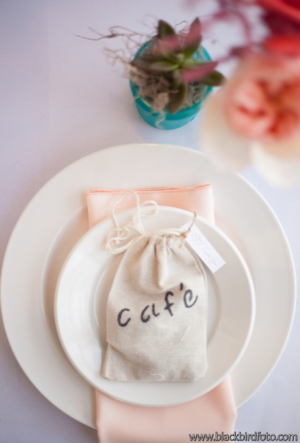 Lovely Details Peach Aqua Coral Cafe Table Setting Miami Wedding