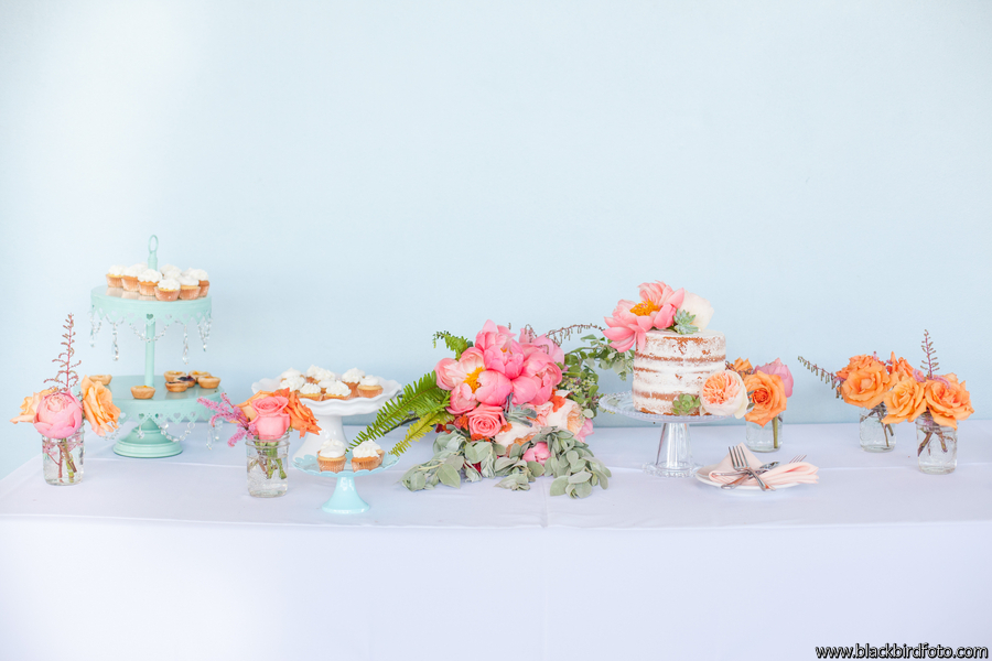 Coral and Aqua Cake Sweets Dessert Table with Roses and Peonies and Naked Wedding Cake