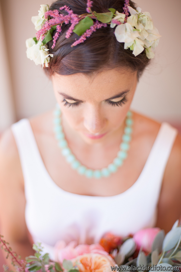 Bridal Style Floral Crown Peony Bouquet Aqua Turquoise Necklace