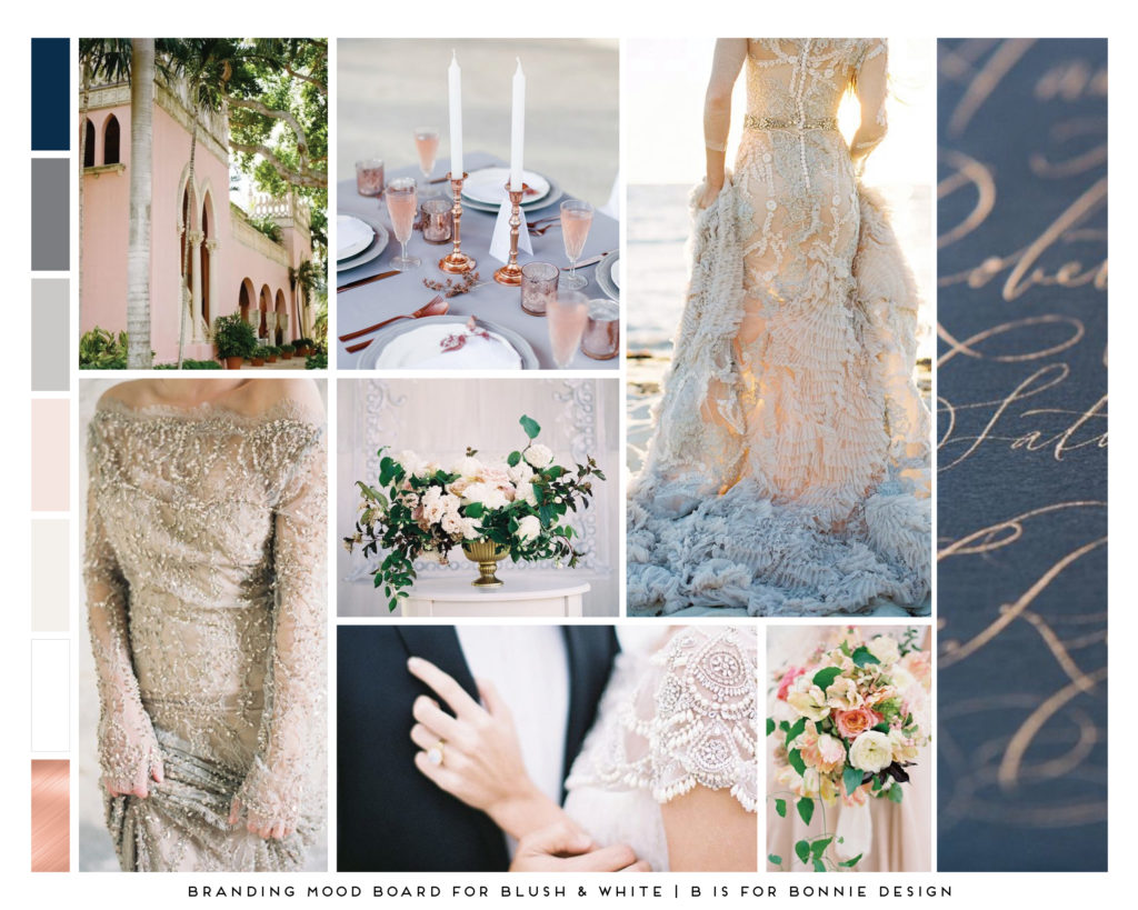 Blush & White Mood Board - Mockup
